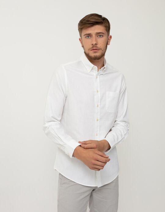 Camisa Slim Fit, Homem, Branco