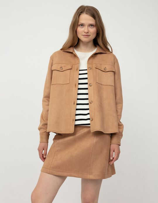 Suedette Overshirt for Women, Brown