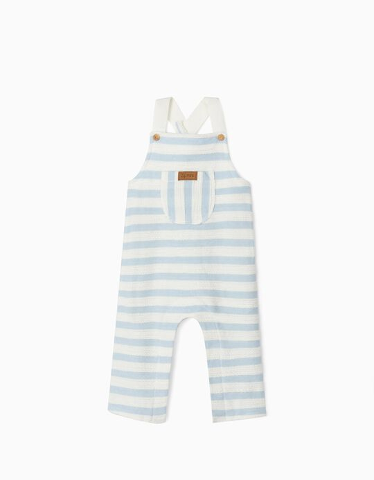 Striped Jumpsuit for Newborn Baby Boys, Blue/White