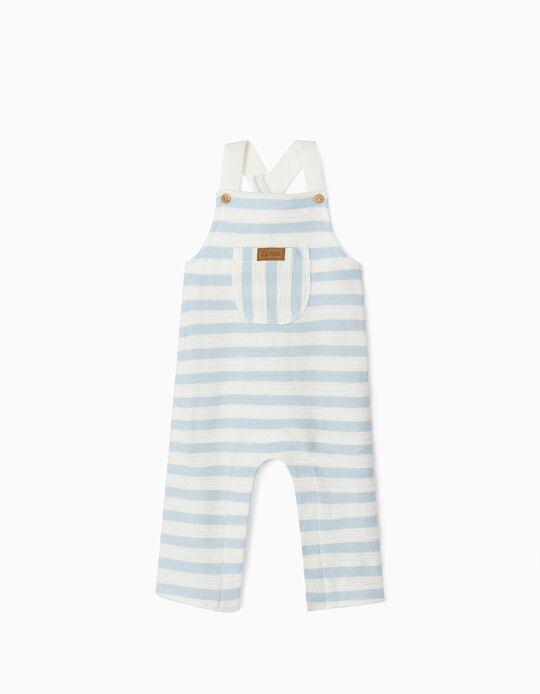 Macacão Riscas para Recém-Nascido, Azul/Branco