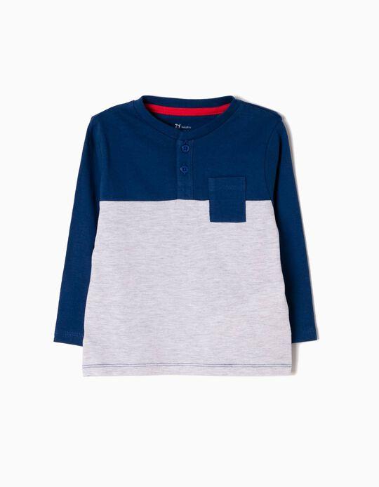 T-shirt Manga Comprida Azul e Cinzento