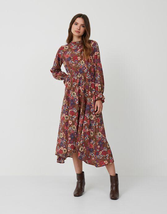 Vestido Comprido às Flores, Mulher, Castanho