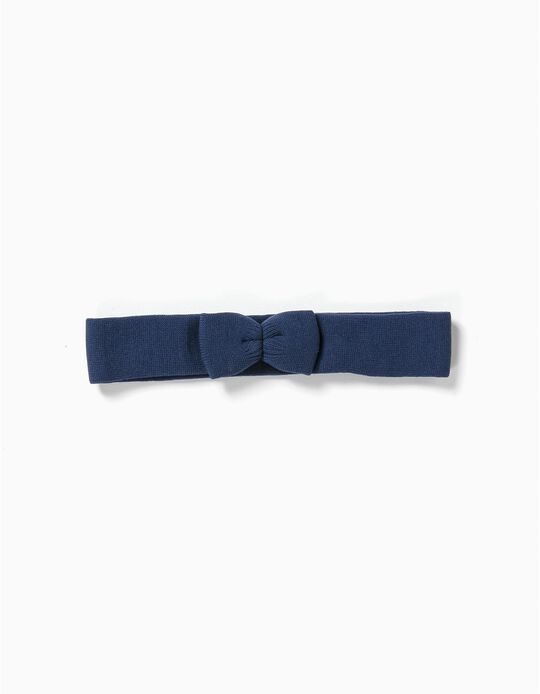 Elasticated Hairband with Bow, Dark Blue
