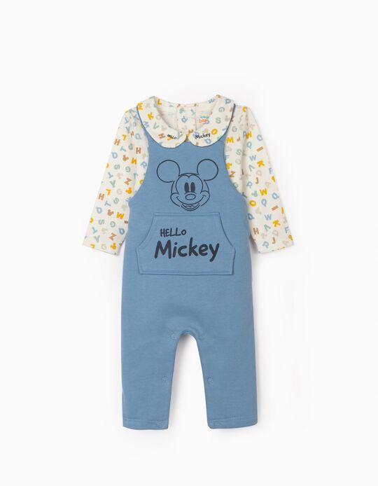 Jumpsuit & Bodysuit for Newborn Baby Boys, 'Hello Mickey', Blue/White