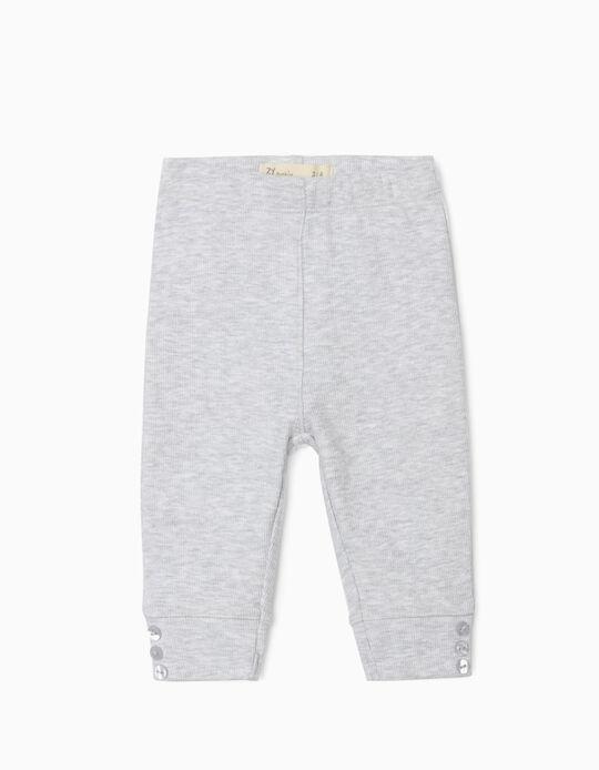 Rib Knit Trousers for Newborn Baby Girls, Grey