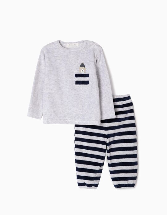 Velvet Pyjamas for Baby Boys 'Cute Bear', Grey/Dark Blue