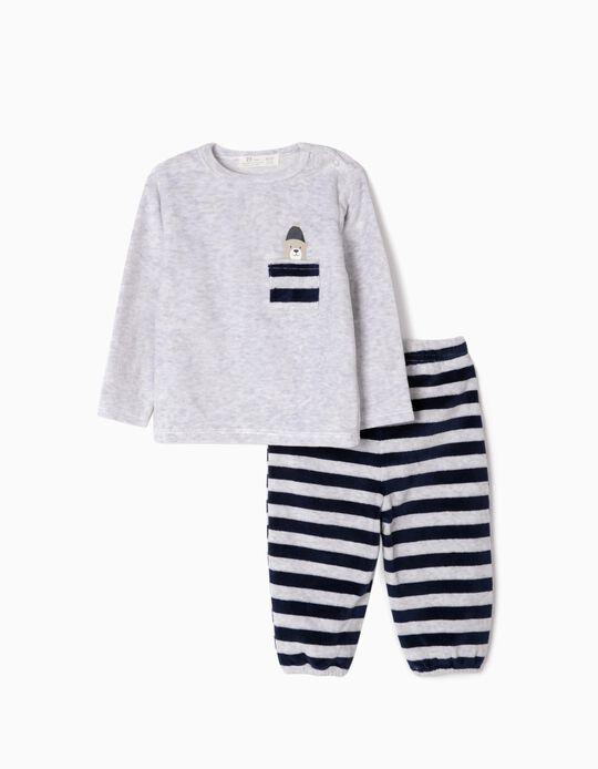 Pijama Veludo para Bebé Menino 'Cute Bear', Cinza/Azul Escuro