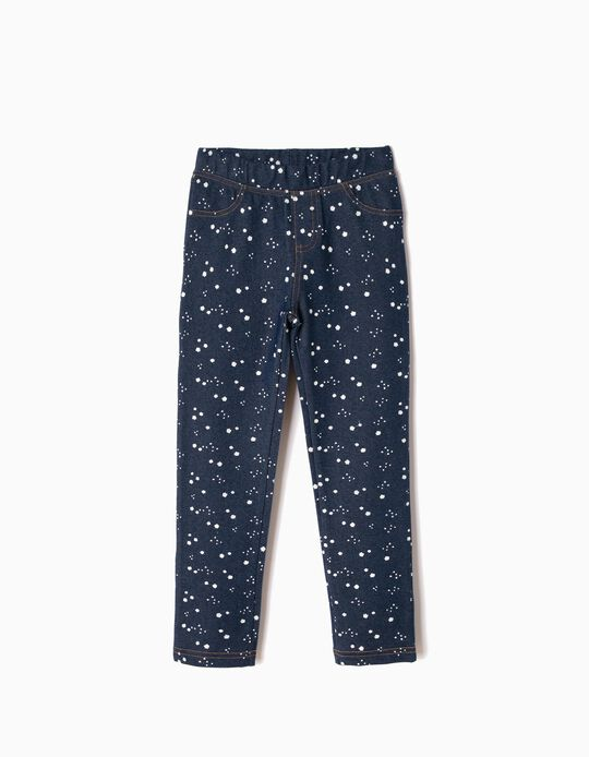 Dark Blue Jeggings with Print