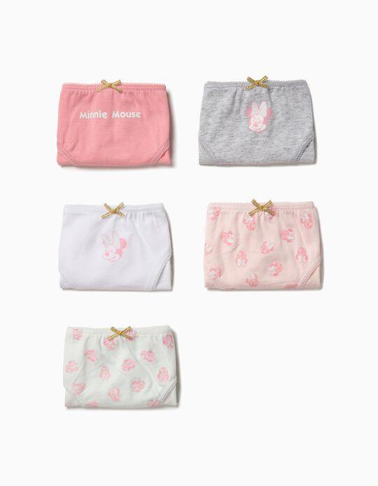 Pack 5 Cuecas para Menina 'Minnie', Rosa e Branco