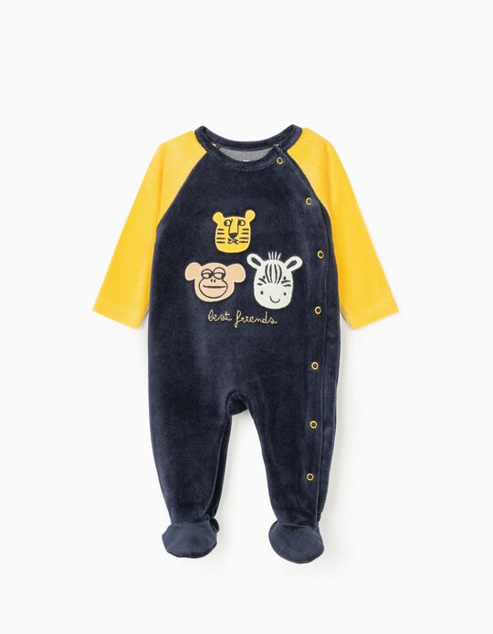 Velour Sleepsuit for Baby Boys 'Best Friends', Blue/Yellow