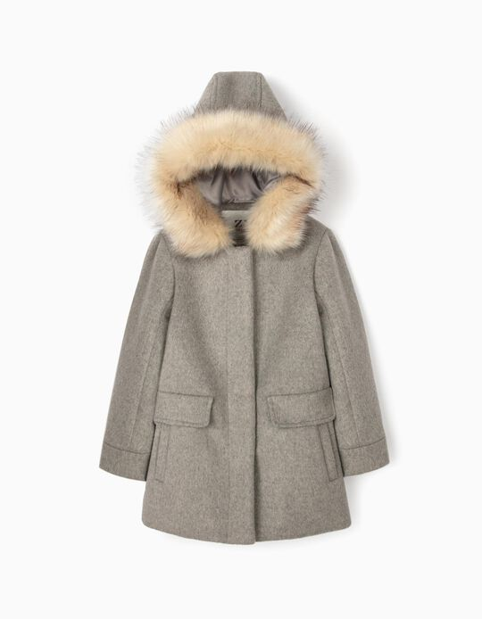 Woollen Coat for Girls, Grey