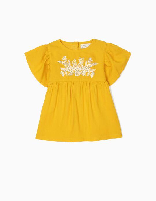 Blusa para Bebé Menina com Bordados, Amarelo