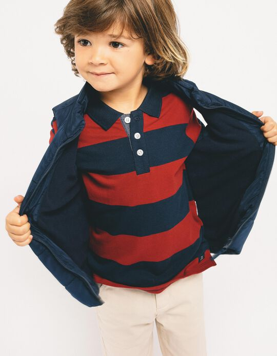 Long-sleeve Polo Shirt for Boys 'Stripes', Blue/Red