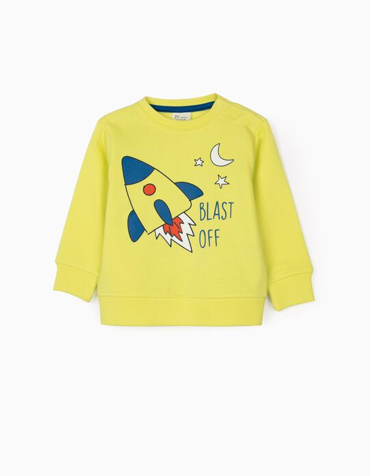 Sweatshirt for Baby Boys 'Blast Off', Lime Yellow