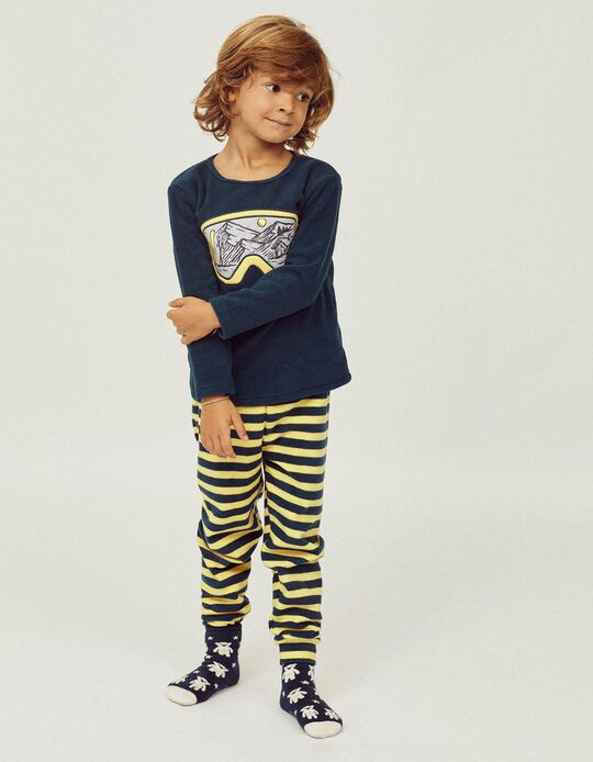 2 Pijamas Polares para Menino 'Ski Club', Azul Escuro/Amarelo