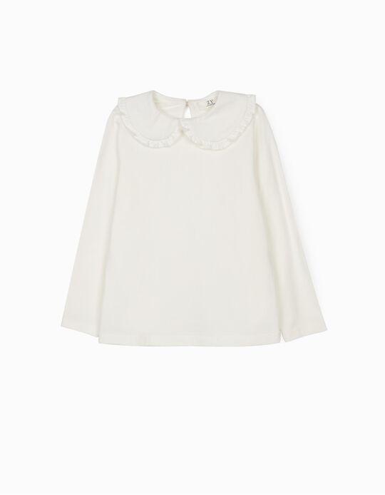 Long Sleeve Top for Girls, White