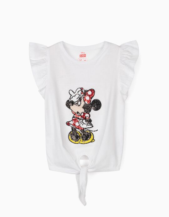 T-Shirt with Knot on the Front for Girls 'Minnie Mouse', White
