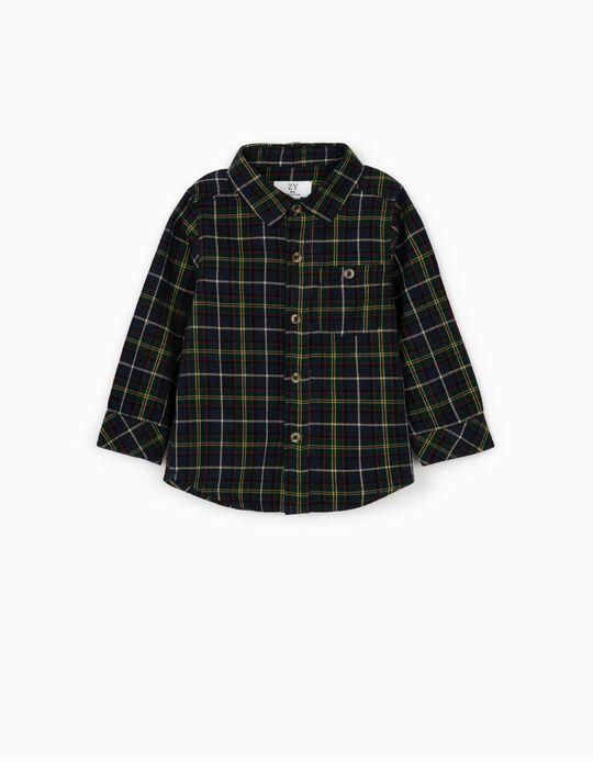 Long Sleeve Plaid Shirt for Baby Boys, Dark Blue/Green