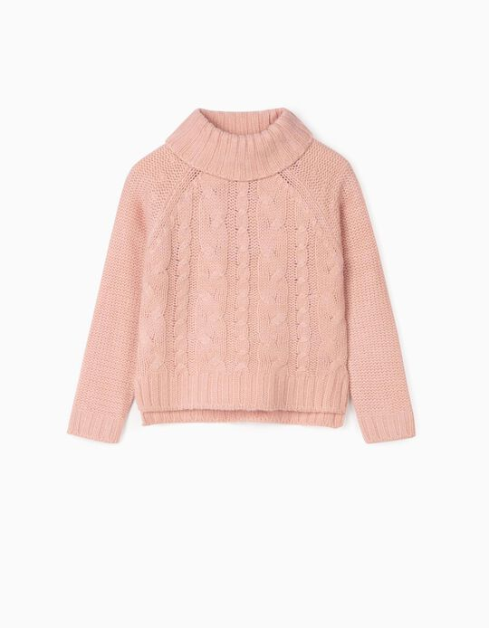 Thick Knit Sweater for Girls, Pink
