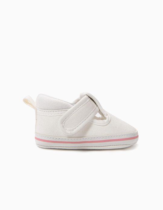 Sapatos para Recém-Nascida com Velcro, Branco