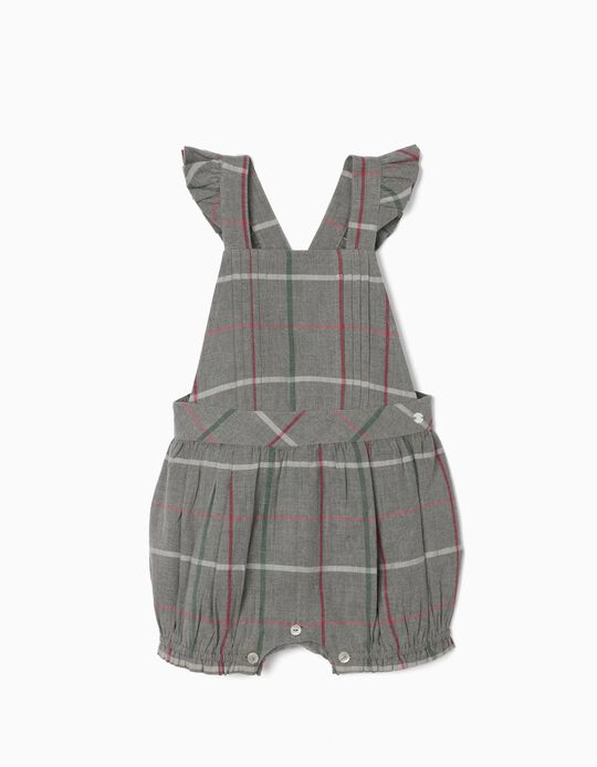 Chequered Jumpsuit for Baby Girls, Grey
