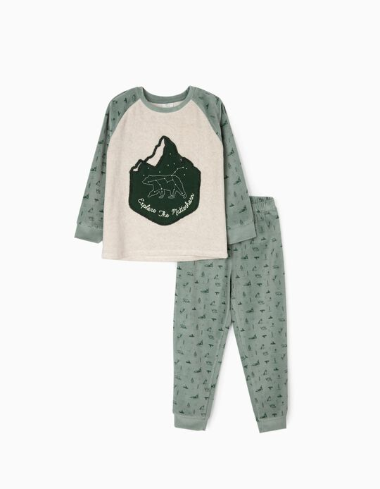 Velvet Pyjamas for Boys 'Explore the Matterhorn', Beige/Green