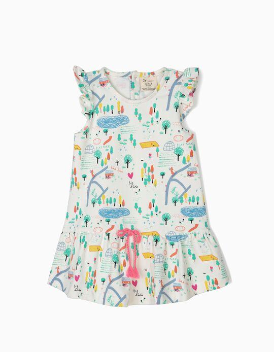 Vestido Estampado para Bebé Menina 'Playground', Branco