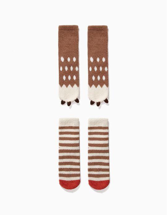 2-Pack Non-slip Socks for Boys 'Bear', Brown