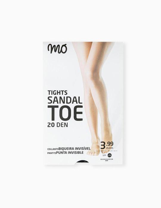 Invisible Toe Tights, 20 DEN, Women, Black