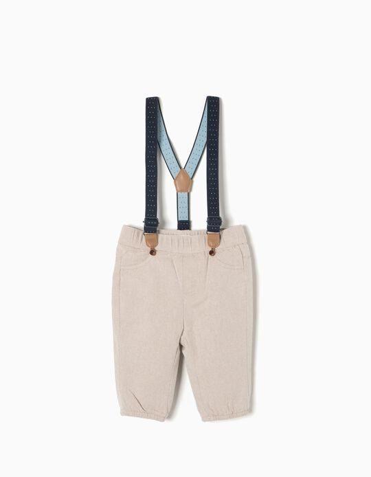 Twill Trousers, Beige with Braces
