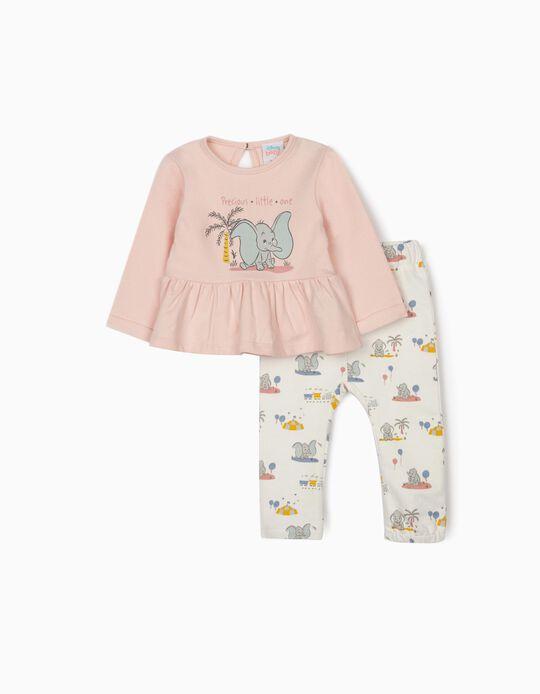 Tracksuit for Newborn Baby Girls, 'Dumbo', Pink/White