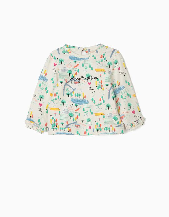 Sweatshirt Estampada para Bebé Menina 'Playground', Branco