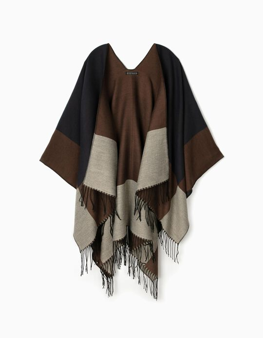 Knitted Colourblock Poncho