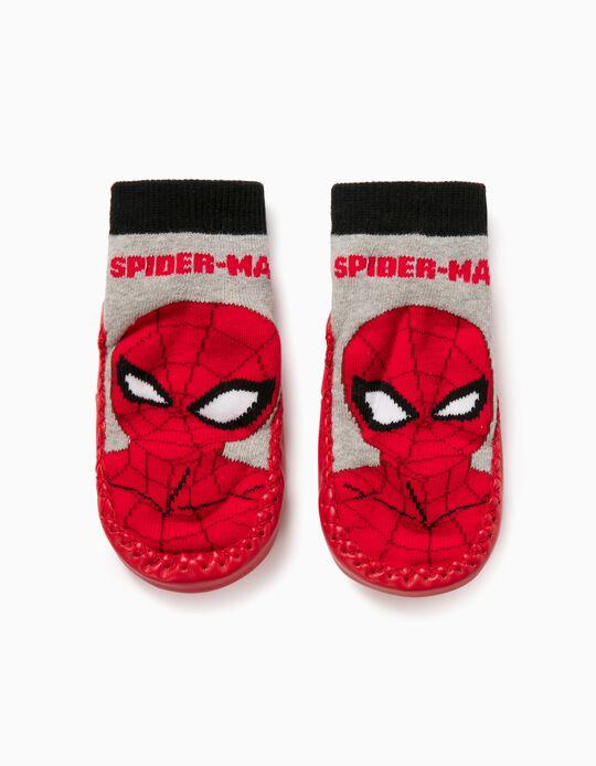 Non-slip Slippers Socks for Boys 'Spider-Man', Grey/Red
