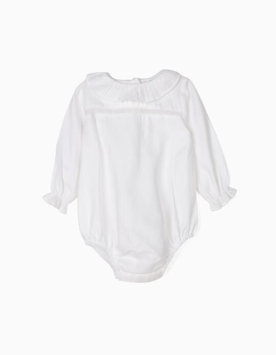 Body-Blusa para Recém-Nascida Folhos e Renda, Branco