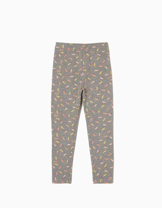 Printed Leggings for Girls, Grey