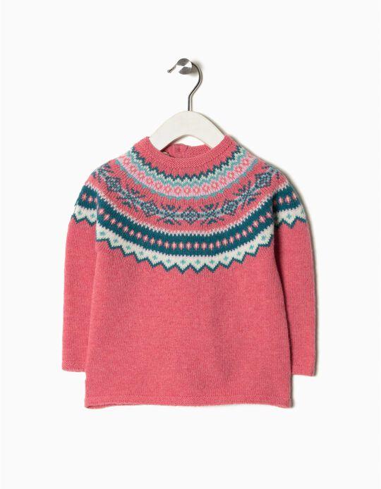 Camisola malha tricotado jacquard