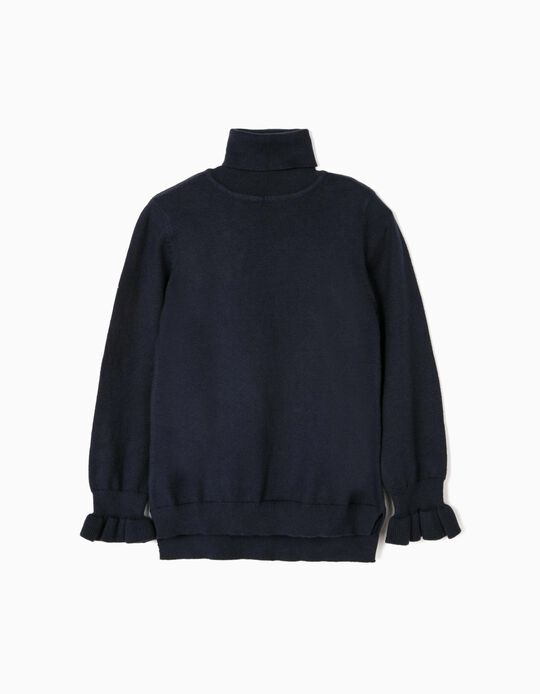 Turtleneck Knit Jumper for Girls, Dark Blue