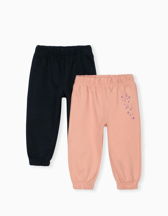 2 Pairs of Joggers for Baby Girls, Pink/Blue