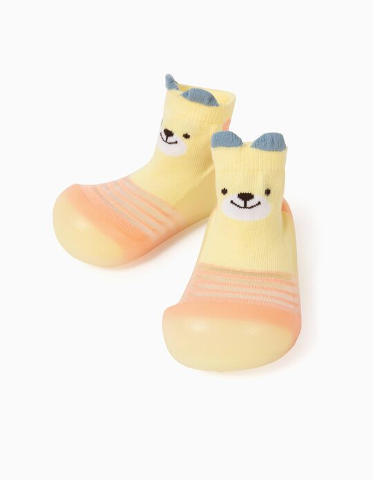 Non-slip Slippers Socks for Babies 'Cute Bear', Yellow