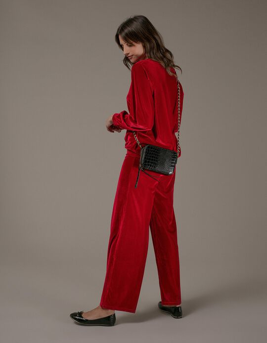 Fluid velour trousers