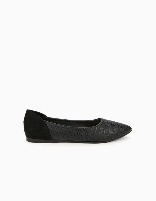 Sapato plano efeito crocodilo