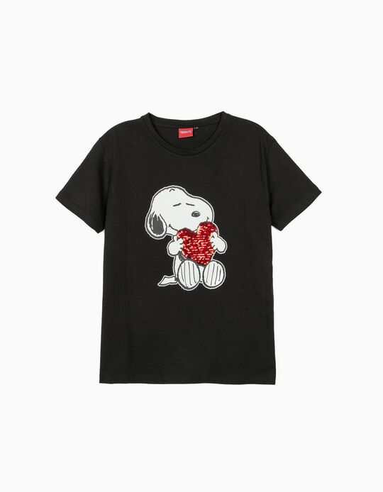 T-shirt with Sequins, 'Peanuts'