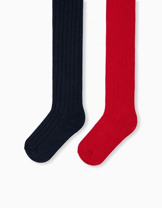 2 Rib Knit Tights, Babies, Red/ Dark Blue