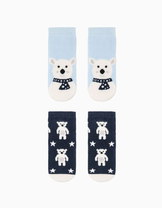 2 Pairs of Non-Slip Socks for Baby Boys 'Bear', Blue
