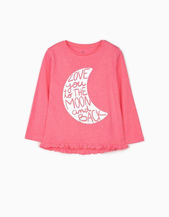 T-shirt Manga Comprida para Menina 'Moon', Rosa