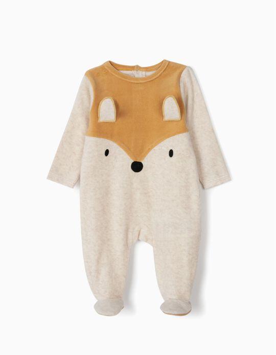 Babygrow Aveludado para Bebé Menino 'Fox', Bege e Castanho