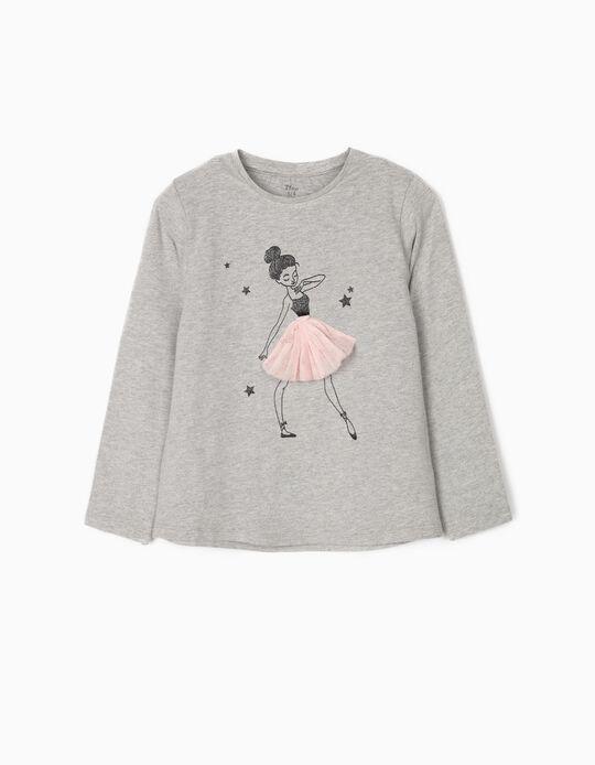 T-shirt Manga Comprida para Menina 'Ballerina', Cinza