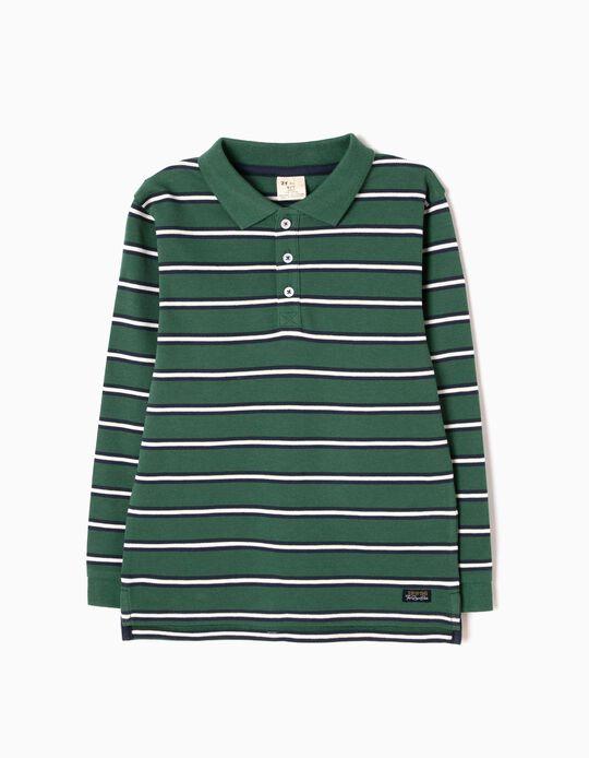 Polo Menino Manga Comprida Riscas Verde