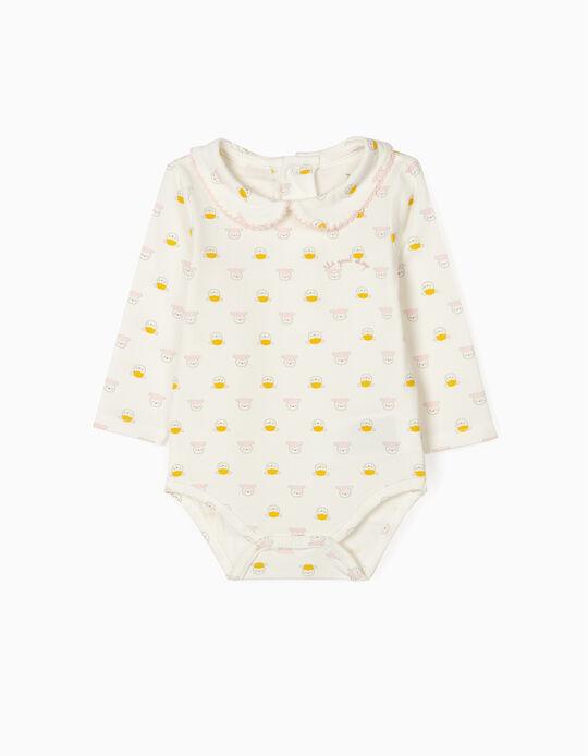 Bodysuit for Newborn Baby Girls, 'Sheep', White